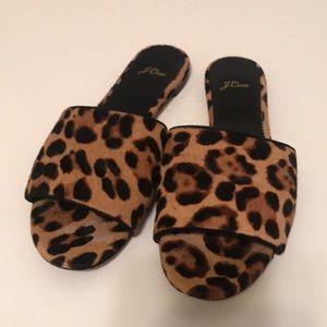 JCREW leopard print slides